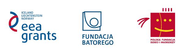 3 loga na białym tle. Od lewej eea grants, fundacja Batorego, polska fundacja dzieci i młodzieży